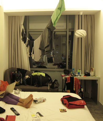 Fancy hotel does not mean you can skip laundry day. // Hotel más ficho no significa que no hay que lavar la ropa.