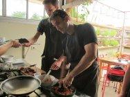 Sambal sauce in the making. // Salsa sambal en camino.