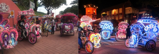 Trishaws by day and by night. // Populares Triciclos de Melaka.. versiones diurna y nocturna.