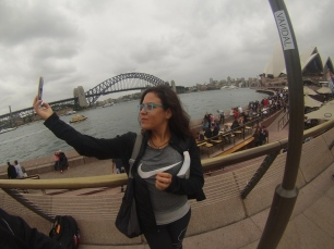 Selfie by the harbour. // Selfie junto al puerto.