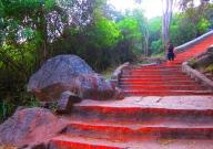 1000 steps to climb up a mountain. // 1000 gradas para trepar al templo de la montaña.
